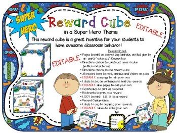 Reward Cube (EDITABLE) in a Super Hero Theme