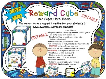 Reward Cube (EDITABLE) in a Super Hero Theme
