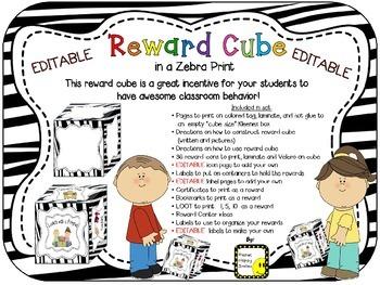 Reward Cube (EDITABLE) in a Zebra Print