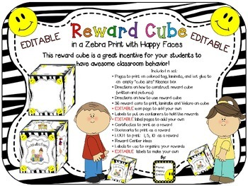 Reward Cube (EDITABLE) in a Zebra Print with Happy Faces