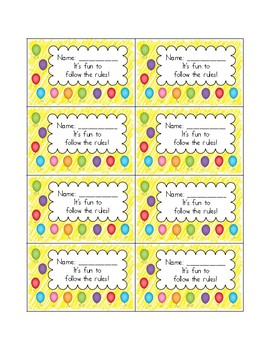 Reward Hole Punch Cards - Balloons