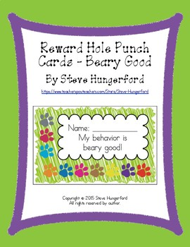 Reward Hole Punch Cards - Beary Good