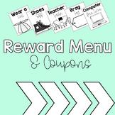 Reward Menu and Coupons {PBIS or Positive Behavior}