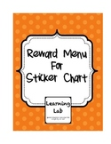 Reward Menu for Sticker Chart