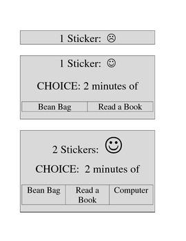 Reward Menu for Sticker Chart