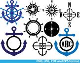 Reward Nautical Navy anchor Clipart school Logo monogram SPORT abc compass -139-