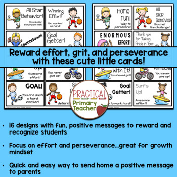 Reward Note Cards for Parent Contact - Sports Theme