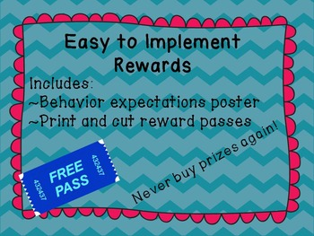 Reward Poster and Easy to Print Passes