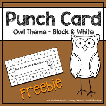 Reward Punch Card - Owl Theme Black and White