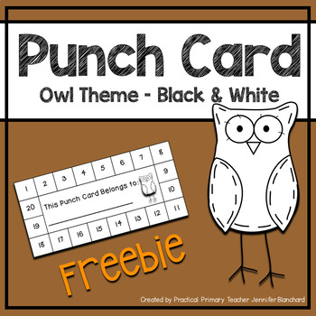 Reward Punch Card - Owl Theme Black and White