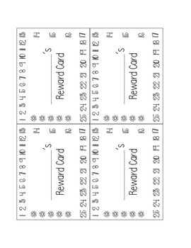 Reward Punch Card with Numbers