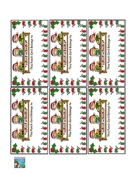 Reward Punch Cards Christmas 20 Punches