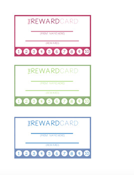 Reward Punch Cards - Various Designs