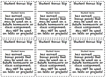 Reward Slips, Homework Passes, Bonus Slips and More! Back to School