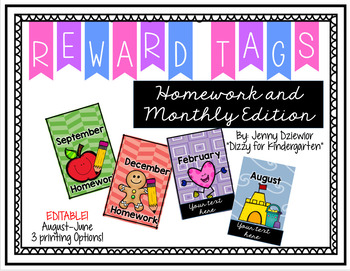 Reward/Celebration Tags - Homework and Monthly Edition