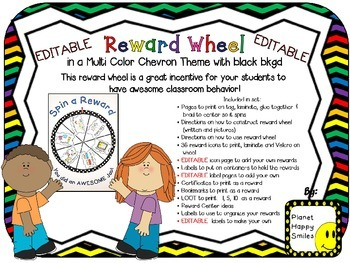 Reward Wheel (EDITABLE) in Multi Color Chevron Print with black background