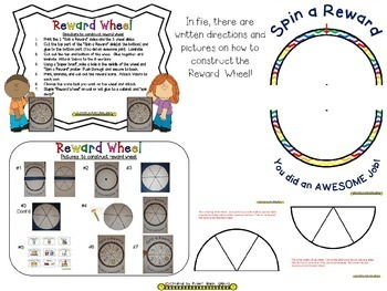 Reward Wheel (EDITABLE) in Multi Color Chevron Print with white background