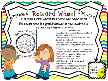 Reward Wheel (EDITABLE) in Multi Color Chevron Print with