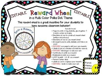 Reward Wheel (EDITABLE) in Multi Colored Polka Dot Print