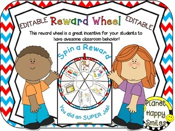 Reward Wheel (EDITABLE) in Red, White and Blue Chevron