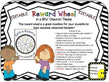 Reward Wheel (EDITABLE) in a B/W Chevron Print