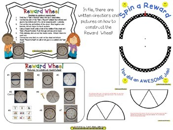 Reward Wheel (EDITABLE) in a B/W Polka Dot Print with Happy Faces