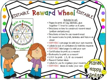 Reward Wheel (EDITABLE) in a Bright Polka Dots and Stripes Print