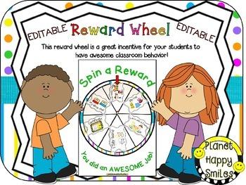 Reward Wheel (EDITABLE) in a Bright Polka Dots and Stripes Print