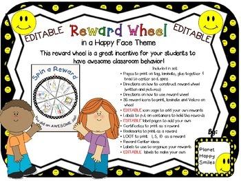 Reward Wheel (EDITABLE) in a Happy Face theme