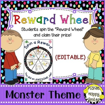 Reward Wheel (EDITABLE) in a Monster theme with Multi Colo