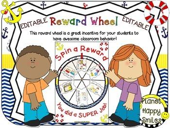Reward Wheel (EDITABLE) in a Nautical Theme