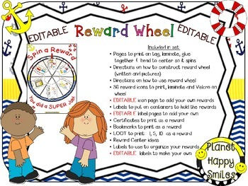 Reward Wheel (EDITABLE) in a Nautical Theme