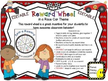 Reward Wheel (EDITABLE) in a Race Car theme