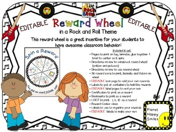 Reward Wheel (EDITABLE) in a Rock and Roll theme