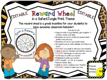 Reward Wheel (EDITABLE) in a Safari/Jungle Animal Print Theme