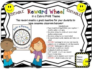 Reward Wheel (EDITABLE) in a Zebra Print with Happy Faces