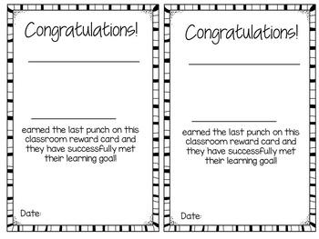 Reward and Incentive Punch Cards - Positive Behavior Reward - Owls