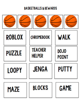 Reward chart-basketball