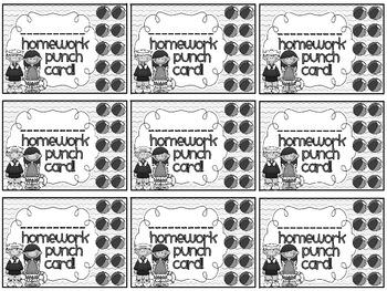 Reward/Homework punch cards: Beach-themed
