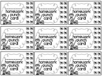 Reward/Homework punch cards: Camping-themed