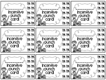 Reward/Homework punch cards: Camping-themed