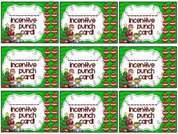 Reward/Homework punch cards: Christmas-themed