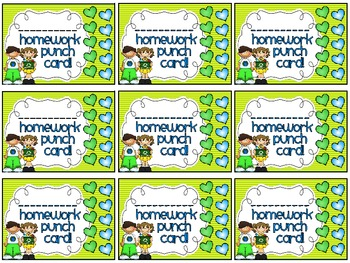 Reward/Homework punch cards: Earth Day-themed