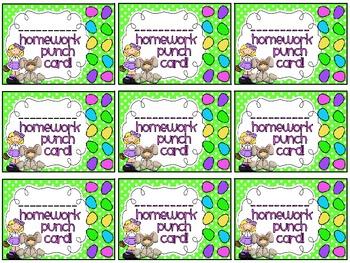 Reward/Homework punch cards: Easter-themed