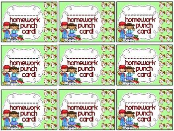 Reward/Homework punch cards: Farm-themed