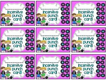 Reward/Homework punch cards: Fifties Kids-themed