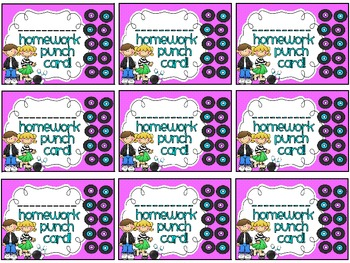 Reward/Homework punch cards: Fifties Kids-themed