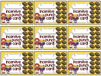 Reward/Homework punch cards: Football-theme