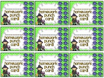 Reward/Homework punch cards: Halloween-themed