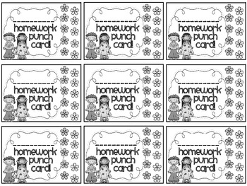Reward/Homework punch cards: Hippie Kids-themed